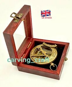 Solid-Brass-Nautical-Sundial-amp-Compass-With-Hardwood-Box