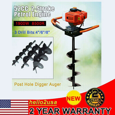 """2.2HP 52CC Gas Powered Post Hole Digger With 4/"""" 6/"""" 8/"""" Earth Auger Digging Engine"""