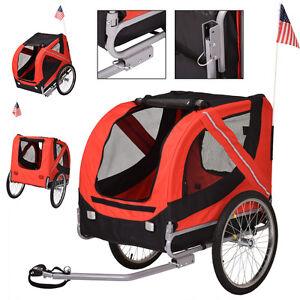 Folding Pet Bicycle Trailer Dog Cat Bike Carrier W Drawbar Hitch
