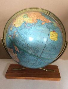"""Vintage Cram's Imperial World Map Globe 12"""" Round On Wood Base"""