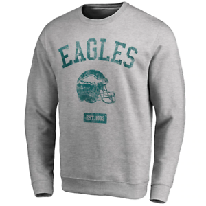 Grey New Philadelphia Eagles NFL Men/'s Iconic Helmet Graphic Crew Sweatshirt