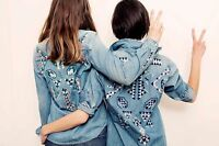 Mother Denim All My Ex's Long Sleeve Embroidered Western Jean Shirt - Small