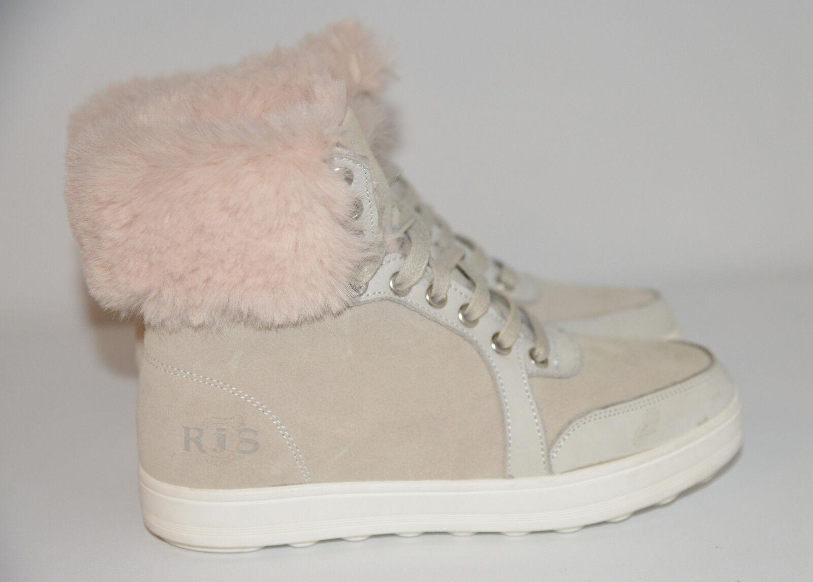 RJ's Damenschuhe Fur Sneaker Sheepskin Damenschuhe RJ's Hi-Top Ankle Fur Trimmed Beige Stiefel Schuhes UK5 a204f6