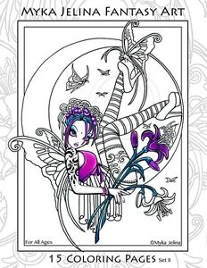 Details about Myka Jelina - Coloring Pages - Flower Fairy - Big Eyed -  Angels - Set 8