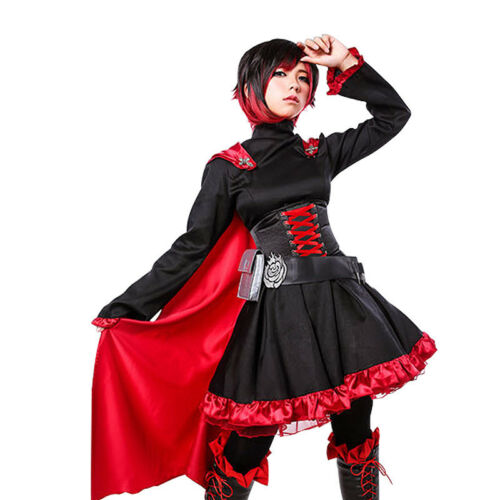 RWBY Crescent Ruby Rose Cosplay Dress Set Short Wig Halloween Party Costumes