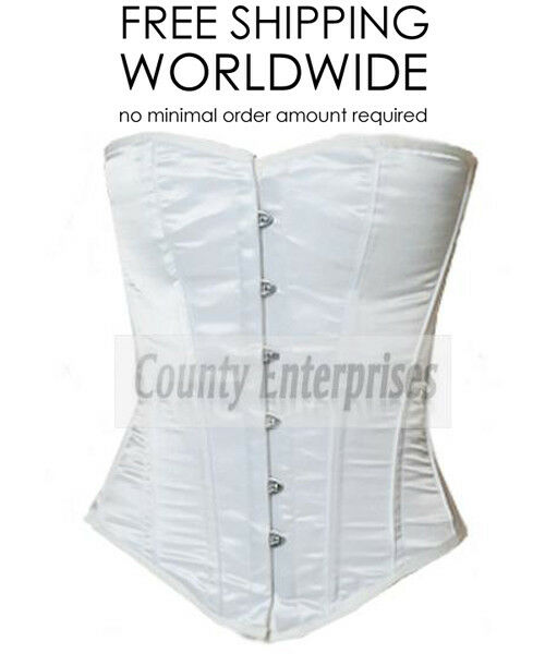 31b62ab9e9 Overbust Full Steel Bustier Shaper Gothic White Satin Corset Victorian  Boned nvuinl4863-Corsets   Bustiers