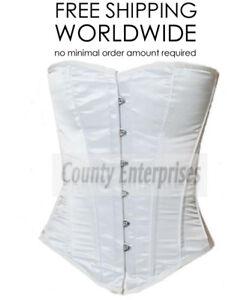 Overbust-Full-Steel-Boned-Victorian-Bustier-Shaper-Gothic-White-Satin-Corset