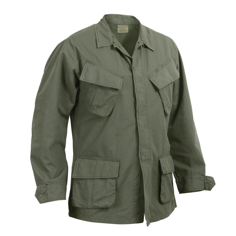 US Army NAM Vintage Vietnam Fatigue Cotton Shirt Jacke RipStop SR Small Regular