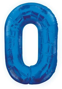 Blue Number 0   Zero   Party Birthday Giant   Supershape   Helium   Foil Balloon