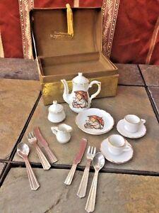 M J HUMMEL Umbrella Girl Child's Tea Set ++ Stainless Steel Utensils Set of 15