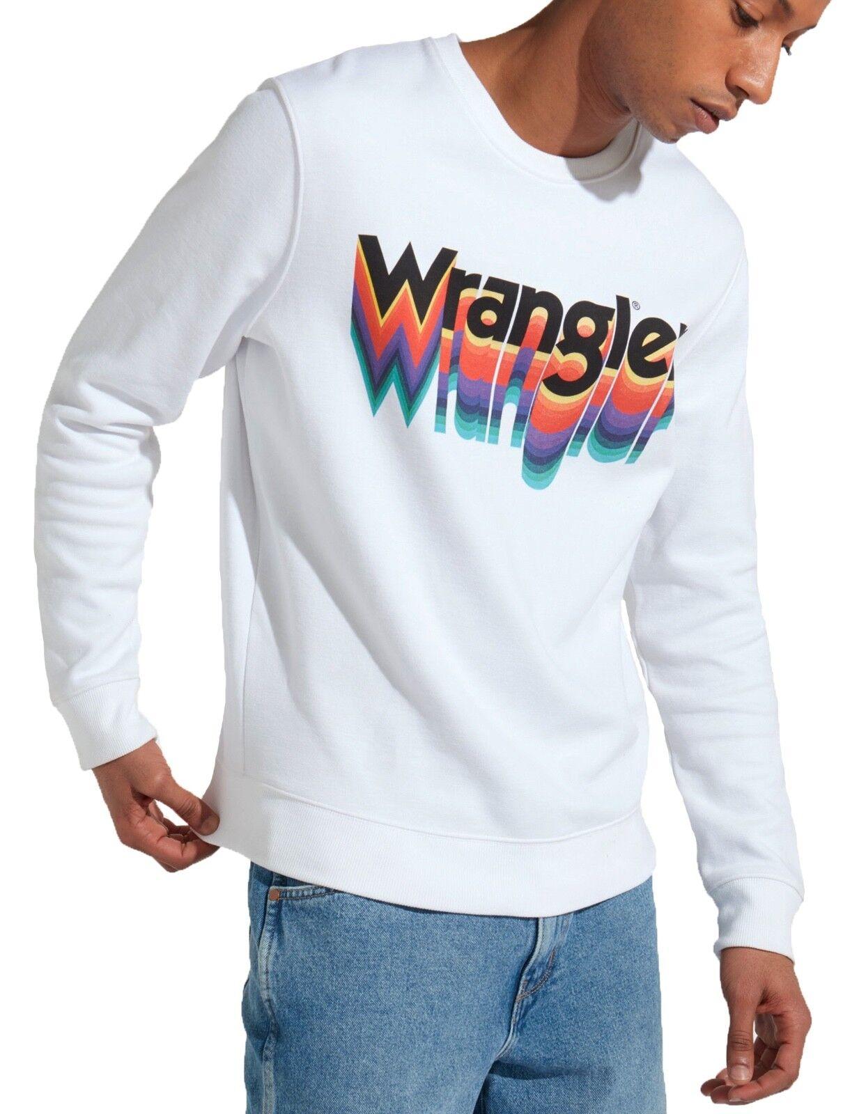 WRANGLER Retro 80s Funky Big Logo Crew Neck Sweatshirt Weiß Sweat Top