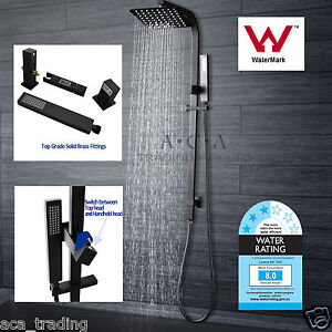 ACA-Square-Black-Double-Handheld-Shower-Head-Rose-SET-Wall-Sliding-Rail-Diverter
