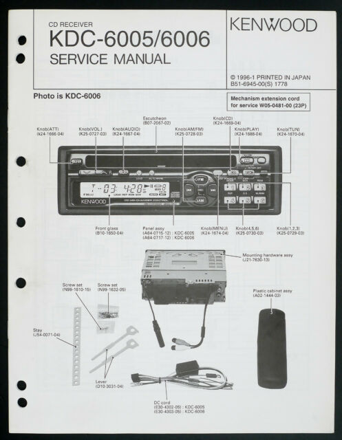 Kenwood Kdc 6006 Original Car Audio Cd Receiver Service Manual  Diagram