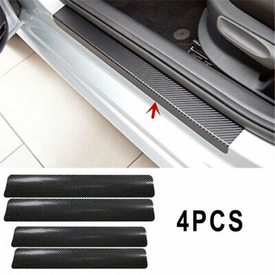 5D Gloss Black Carbon Fiber Car Plate Door Sill Scuff Panel Step Protector Box