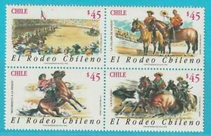 Chile-aus-1990-postfrisch-MiNr-1391-1394-Motiv-Rodeo-Pferde