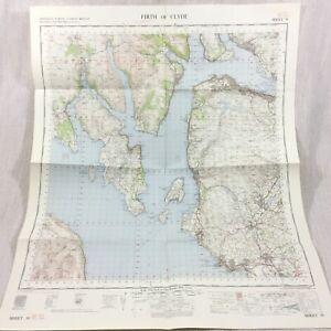 1965 Vintage Militare Mappa Di Il Firth Di Clyde Scozia Greenock Helensburgh