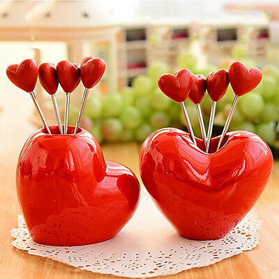 Heart Shape Fruit Cake Salad Forks with Holder Party Home Decoration Gadget 1Set