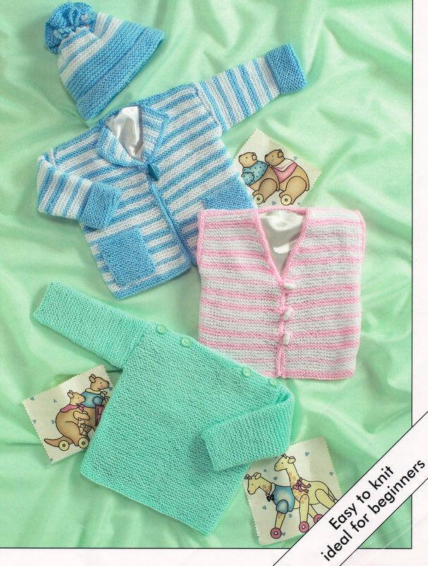Easy Garter Stitch Baby Knitting Pattern Sweater Jacket Wcoat Hat
