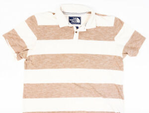 The-North-Face-Mens-Polo-Shirt-Short-Sleeve-Tan-Brown-Stripes-Size-XL
