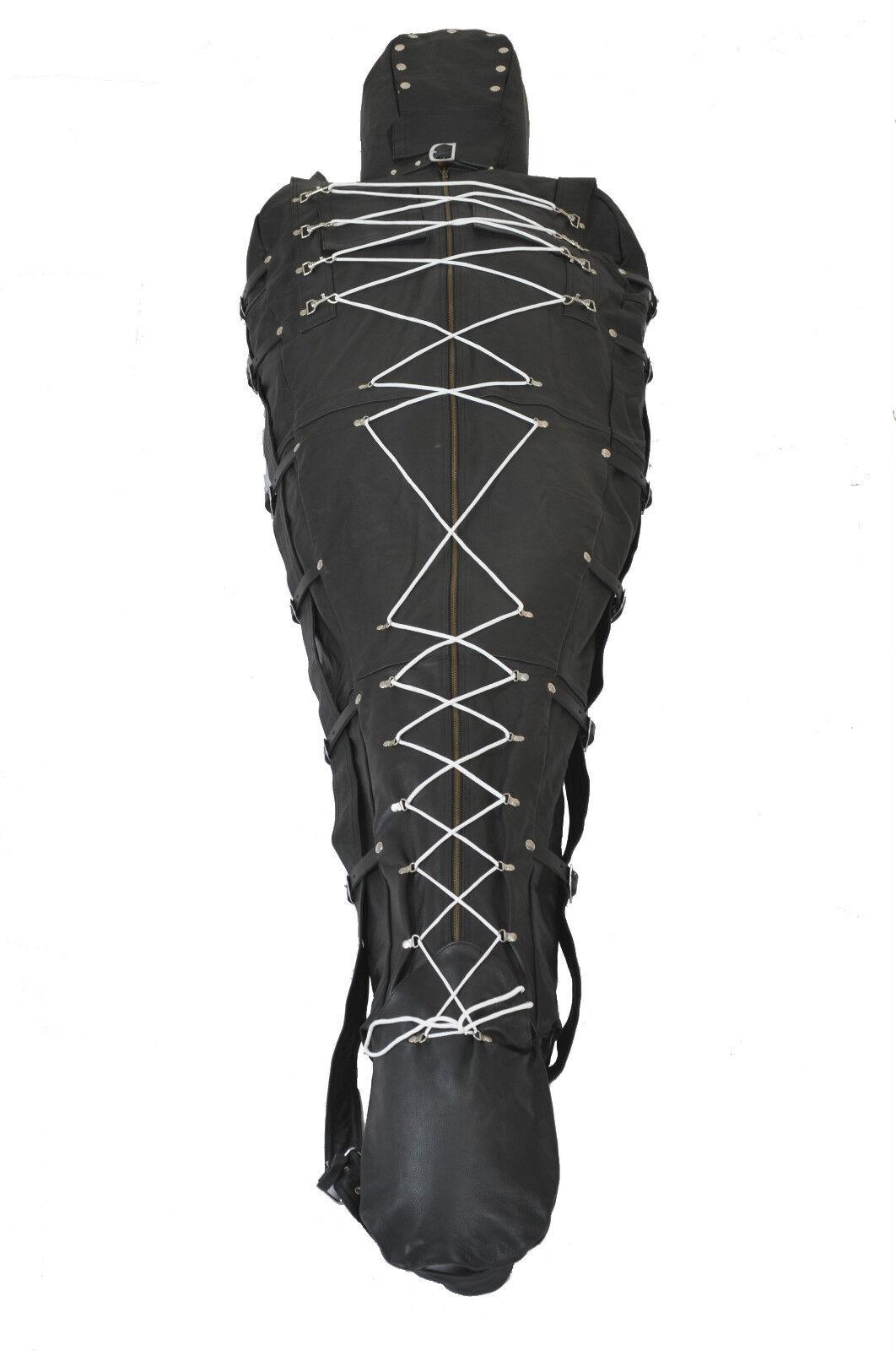Bondage Sleep Saco Resistente Cuero black y Capucha con Opción de Forro