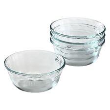 4 PYREX 10-oz CUSTARD CUPS # 464 Clear Fluted Pudding Dessert Prep Bowls *NEW