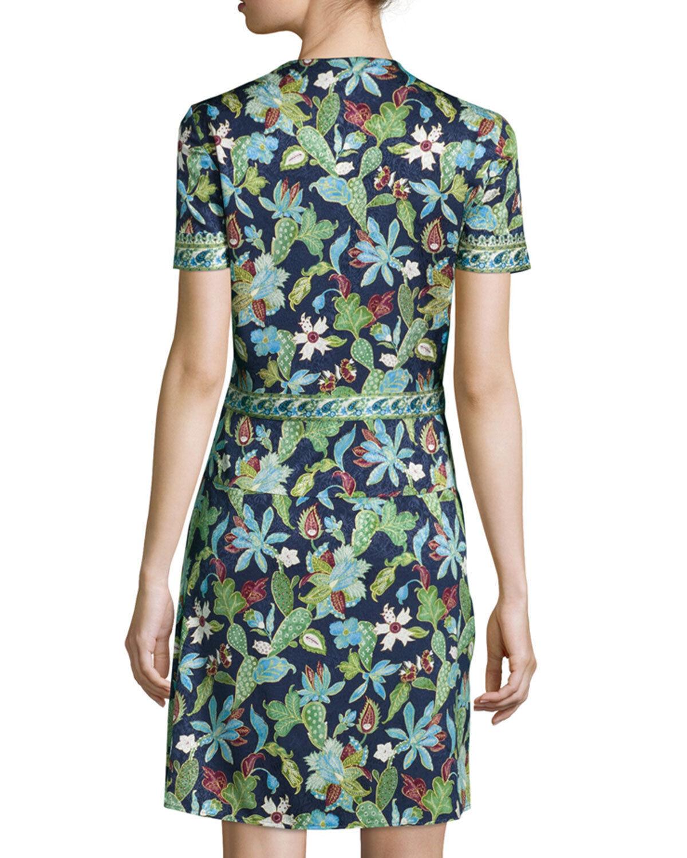 Nuovo Nuovo Nuovo Tory Burch Giardino Floreale Glicine Stretch Vestito di Seta verde Navy 2 3cff6a
