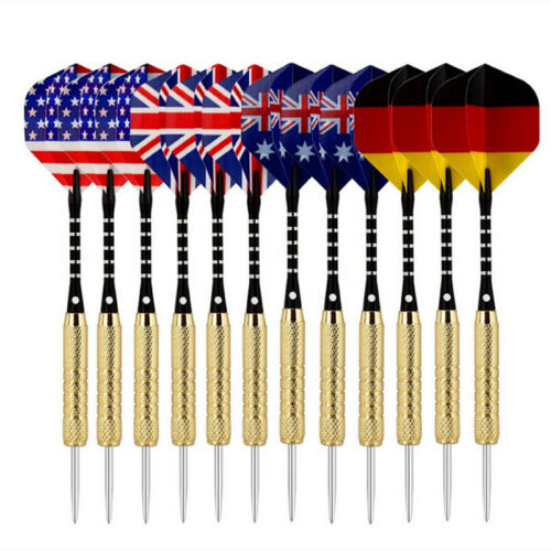12pc /4set Steel Needle Tip Dart Darts With National Flag Flight Flights Games