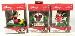 Lot-of-3-Hallmark-Disney-Christmas-Ornaments-Mickey-Minnie-Wreath-New-Box-NIB