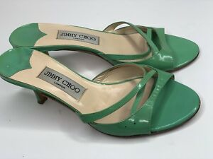 291ed559c9a Jimmy Choo London Women's Strappy Sandal Low High Heels Green Shoes ...