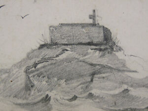 Dessin Original Mine de plomb Paysage marin cote bretonne normande