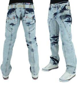 Peviani-uomo-di-marca-Denim-Jeans-lavaggio-blu-ghiaccio-tempo-e-denaro-Hip-Hop-Star