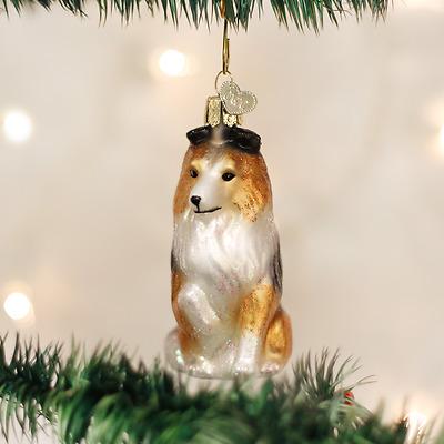 12407 Sheltie Shetland Sheepdog Glass Ornament Old World Christmas Dog Puppy