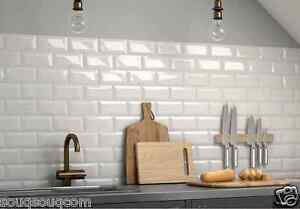 london metro pale grey gloss bevelled brick kitchen wall tiles 10 x 20cm