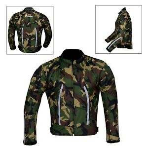 Men-039-s-Motorcycle-Motorbike-Jacket-Waterproof-Textile-With-CE-Armoured-Green-Camo