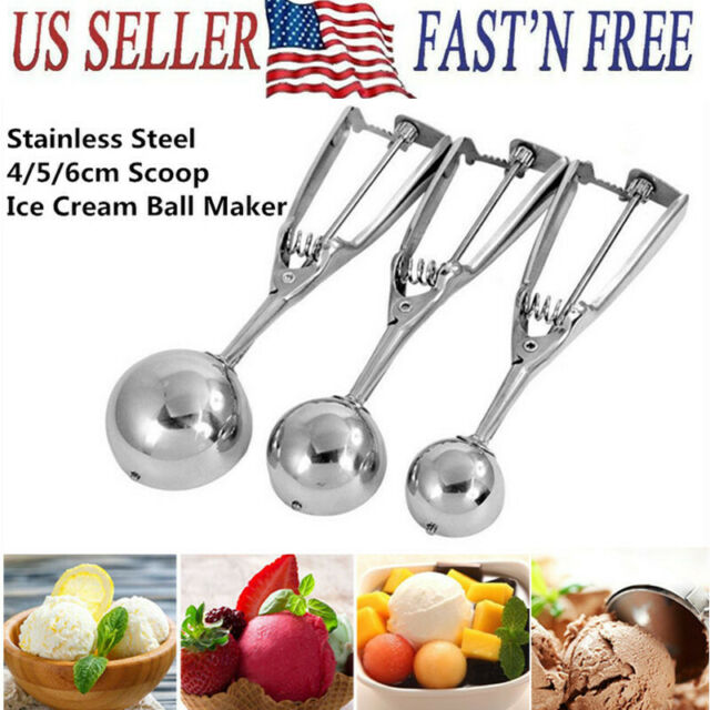 2 Sizes Stainless Steel Scoop Spoon For Ice Cream Fruits Food Mash Kitchen Ball