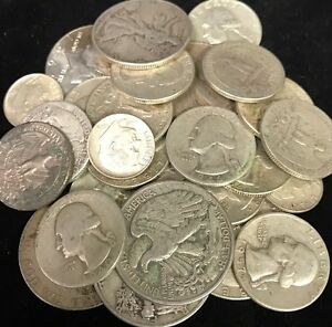 1-Standard-Ounce-Of-90-Silver-US-Coins-Dimes-Quarters-Half-Free-Shipping