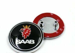 Nuevo-Negro-Saab-68mm-Arranque-Tronco-Trasero-insignia-emblema-2-Pin-93-95-9-3-9-5-2003-2010