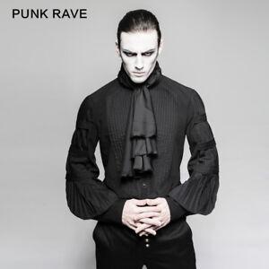 Punk-Rave-Black-blouse-Gentle-Men-Gothic-Kera-shirt-Steampunk-singer-Top