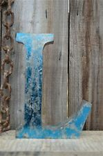 MEDIUM VINTAGE STYLE 3D BLUE L SHOP SIGN LETTER TIN WALL ART LETTER FONT