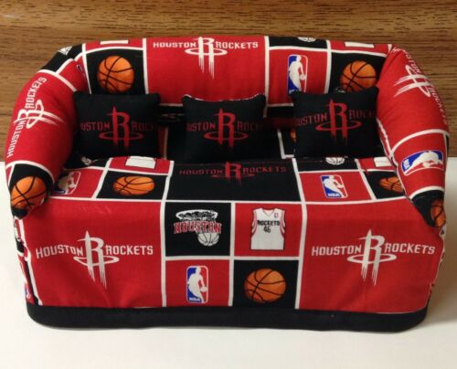 Houston Rockets Basketball Sofa Couch Tissue Box Cover With Little Pillows