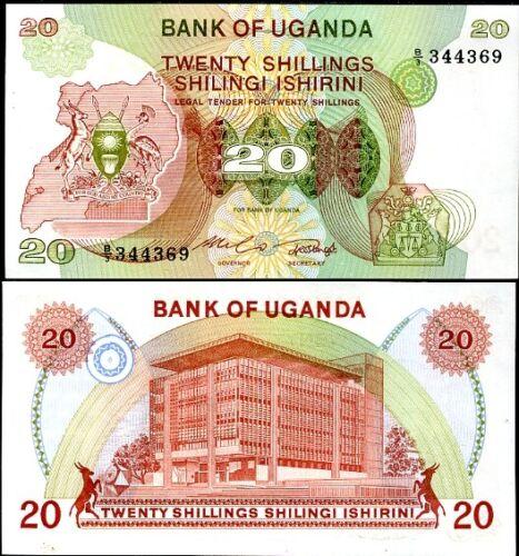UGANDA 20 SHILLINGS 1982 P 17 UNC