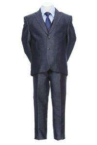 Boy's Toddler Teen 5pc Premium Tuxedo Formal Shiny Dress Suit w/ Vest 2-20_BLUE