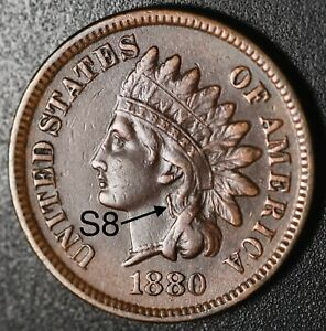1880-INDIAN-HEAD-CENT-Near-XF-EF-With-034-EARRING-034-Snow-8-RARE