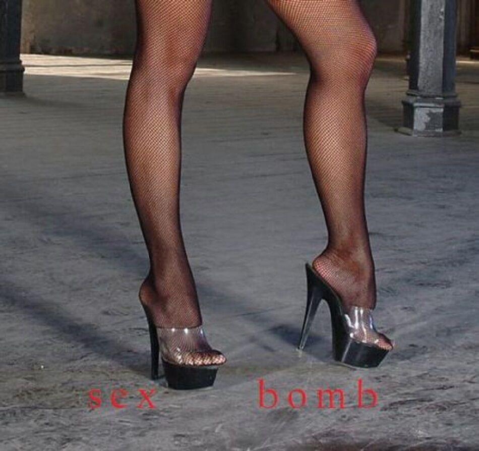 SEXY sabot sandali trasparente/nero plateau tacco 18 dal 35 a 42 fashion GLAMOUR