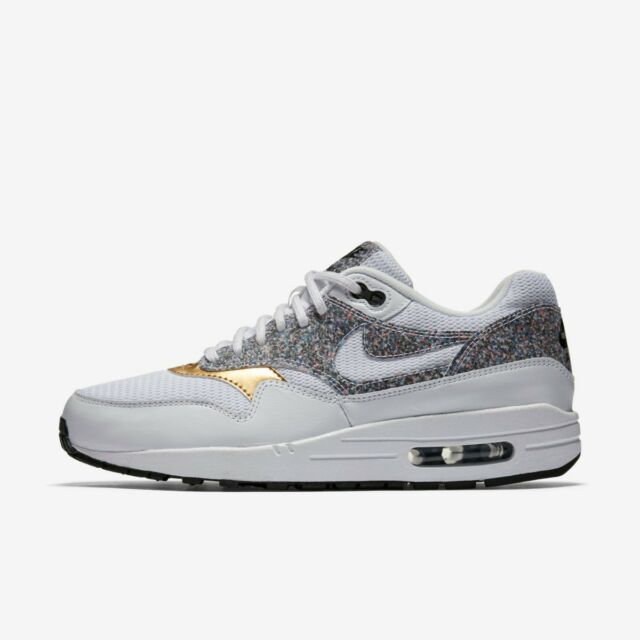RARE Nike Air Max 1 SE 881101 100 UK 4 / US 6.5 Grey Gold White ...
