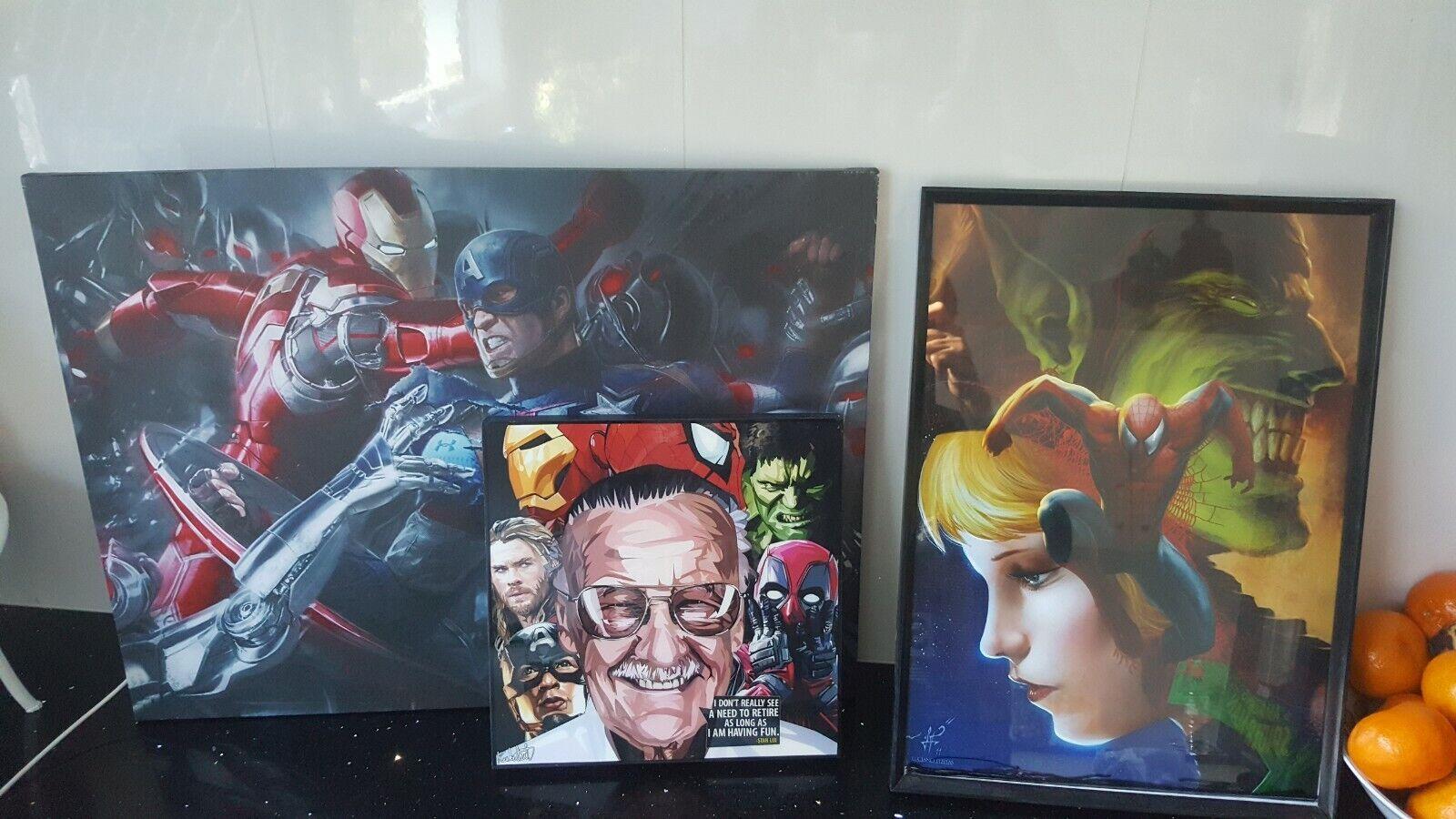 Marvel Cochetel enmarcado Colgar Arte Raro x3 los Vengadores Stan Lee Hulk Iron Man