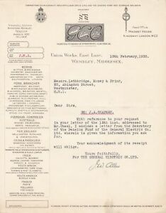 The General Electric Co. Ltd. Logo Wembley, Midsx. 1935 Pension Letter Ref 46233