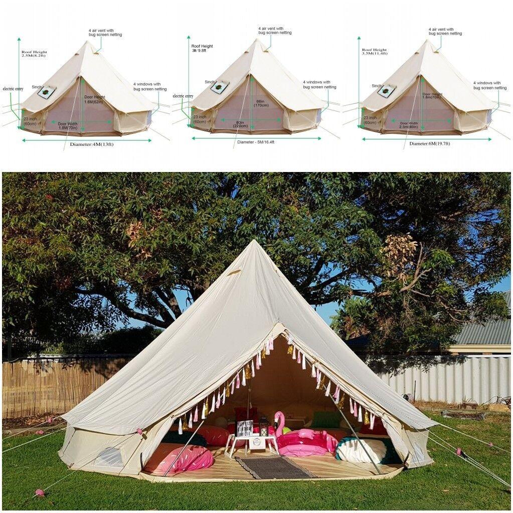 4m 5m 6m Safari Yurts Bell Tent Waterproof Canvas Glamping Camping Outdoor Tents