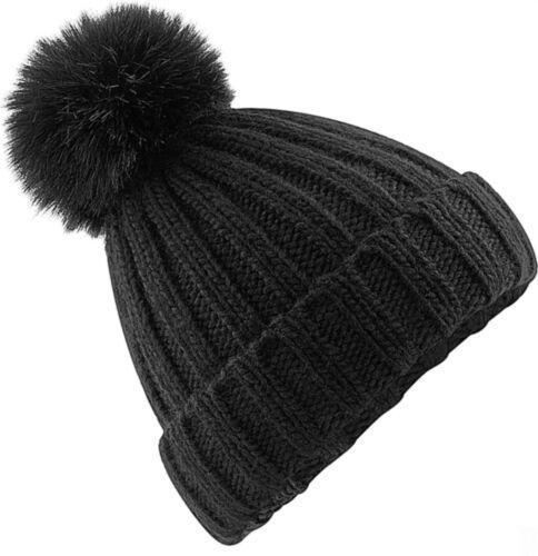 Strickmütze Damen Bommelmütze Grobstrick Rippstrick Winter-Mütze Neverless®