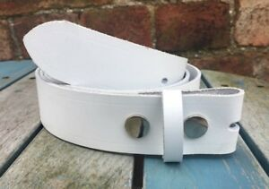 White-Leather-Press-Stud-Snap-Belt-Choice-of-Widths-Hand-Made-100-Real-Leather